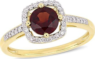 Zales 6.0mm Garnet and 1/8 CT. T.w. Diamond Cushion Frame Ring in 10K Gold