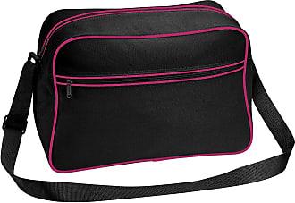 BagBase Bagbase Retro Adjustable Shoulder Bag (18 Litres) (One Size) (Black/Fuchsia)