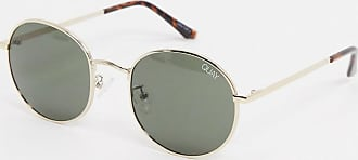 Quay Modstar round sunglasses in gold with green lens
