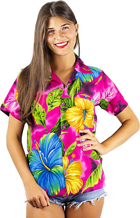 V.H.O. Funky Hawaiian Blouse, Big Flower, Pink, 4XL