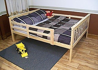 A & L Furniture A & L Furniture 3130RTS Slat Mission Bed with Safety Rails, Full, Rich Tobacco