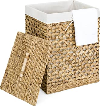 Best Choice Products Decorative Woven Water Hyacinth Wicker Laundry Clothes Hamper Basket w/ Liner, Lid - Natural