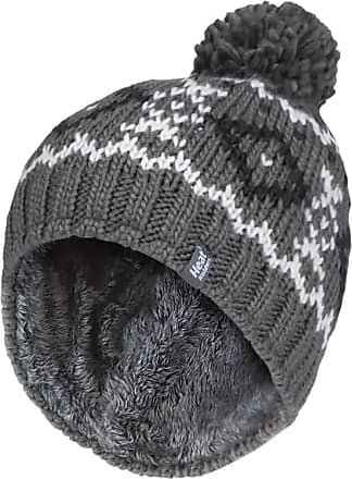 Heat Holders Mens Chunky Knit Fleece Lined Thermal Winter Warm Beanie Bobble Hat with Pom Pom (One Size, Grey/White)