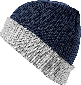 Result Winter Essentials Chunky Double Layer Knitted Hat (Navy/Grey)