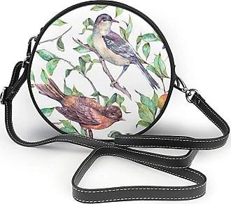 Turfed Cute Bird Print Fashion Round PU Crossbody Handbag Round Shoulder Bag For Women Girls