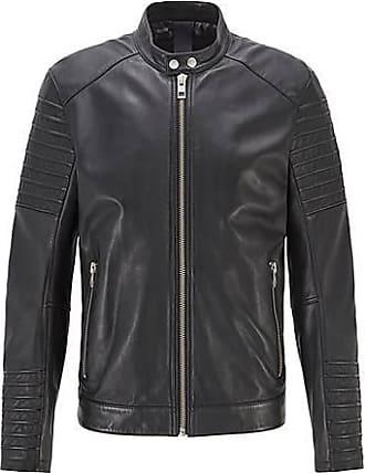 BOSS Slim-Fit Jacke aus handbehandeltem Leder