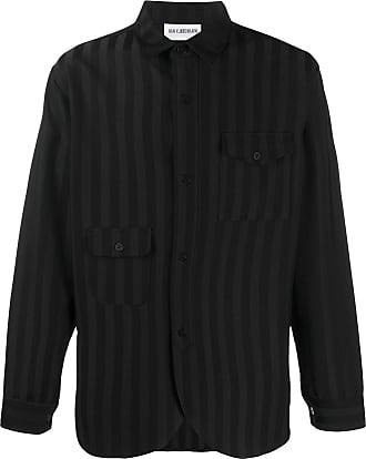 Han Kjobenhavn Camisa com bolso e listras - Preto