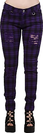 Banned Apparel - Move On Up Stretch Trousers (S, Purple Check)