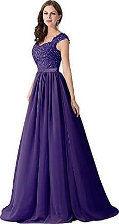 6e3ab48336fcc2 MisShow Damen Elegant Herzform Chiffon Abiballkleid Abendkleid mit  Blumenstickerei Lang Lila 46