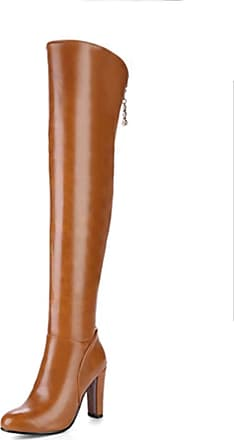 NOADream High Heel Over-The-Knee Boots Leather Women Stylish Warm Evening Party Wedding Dancing Thigh High Boots Size Brown
