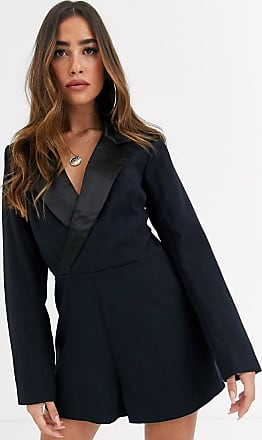 Missguided plunge tux playsuit in navy