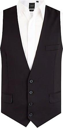 Dobell Dobell Mens Black Waistcoat Slim Fit 4 Button-44