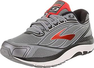 43aec59fce2 Brooks Brooks Mens Dyad 9 Primer Grey High Risk Red Black Running Shoe 9.5
