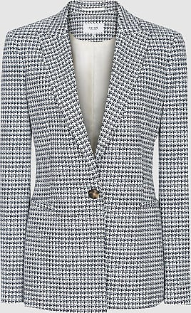 Reiss Carley - Jacquard Blazer in Pale Blue, Womens, Size 10