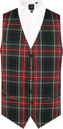 Dobell Mens Green Tartan Waistcoat Regular Fit 5 Button-5XL