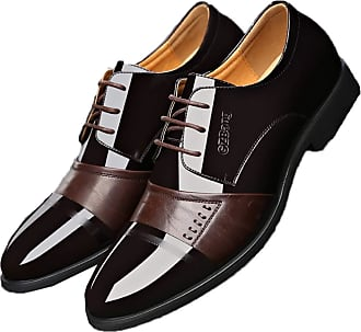 LanFengeu Men Business Shoes Pointed Toe Breathable Lace up Flats Office Work Formal Oxfords Wedding Party Leather Dress Shoes Brown