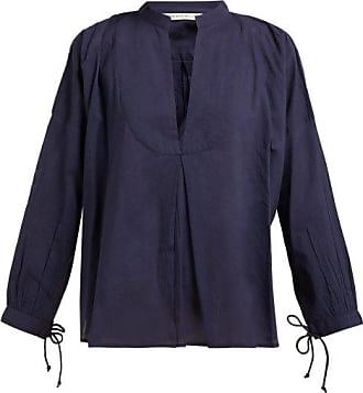 Queene and Belle Queene And Belle - Moon Pleat-front Cotton Voile Shirt - Womens - Navy