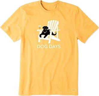 Life is good Mens Dog Days Beer Crusher Tee XXL Baja Yellow