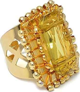 Tinna Jewelry Anel Dourado Quadriculado Com Resina (Amarelo)