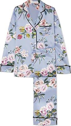 28d592fefbf80 Olivia Von Halle Pyjama En Satin De Soie À Imprimé Fleuri Lila - Bleu ciel