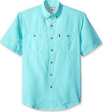 G.H. Bass & Co. Mens Explorer Short Sleeve Button Down Fishing Shirt, Legacy Rich Aqua Splash S2018 1, Medium