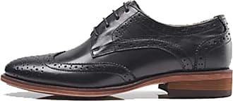 MGM-Joymod Womens Classic Lace-up Casual Vintage Simple Comfortable Perforated Wingtip Brogues Oxfords Flats Dress Leather Shoes (Black) 6.5 M UK