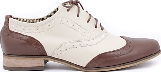 Zapato Womens Leather Oxford Shoes Model 246 Beige Brown