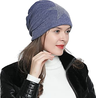 DonDon Womens Slouch Beanie with Strass Star Rhinestones with Soft Inner Lining - Blue