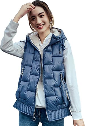 Daytwork Quilted Hooded Gilet Coats Women - Ladies Winter Warm Sleeveless Waistcoat Long Down Clothing Zipper Cotton Vest Jacket Outerwear Casual Loose Blue