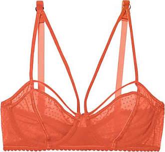 Lonely Gigi Velvet-trimmed Flocked Stretch-tulle Underwired Soft-cup Bra - Orange