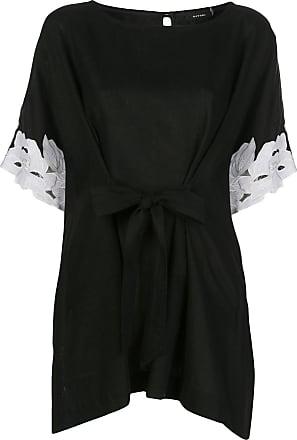Natori lace-cuff tie-waist top - Black