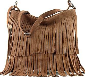 modamoda.de Ital. Leather bag Shoulderbag Shoulder bag Ladiesbag Wild leather T125, Colour:pale brown