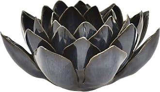 Three Hands Blue Ceramic Flower Candle Holder - 28048