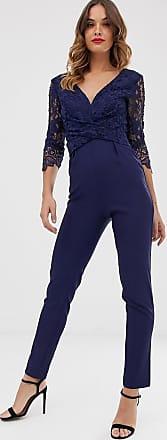 Little Mistress lace sleeve tailored jumpsuit-Navy