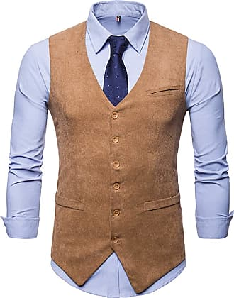 Whatlees Mens Slim Fit Tweed Vest with Double-Breasted Button Front Party Club Wedding Khaki 02010005XKhaki+XL
