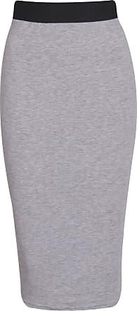 The Celebrity Fashion Womens Ladies Plain Midi Stretch Bodycon Party Skirt office Works Sizes 8-22, Light Grey, UK SIZE 20 - 22 XXL