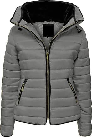 Parsa Fashions Malaika Ladies Quilted Padded Puffer Bubble Fur Collar Warm Thick Womens Jacket Coat - Avaiable in PLUS SIZES (Extra Small to XXL) (XL, Dark Grey)