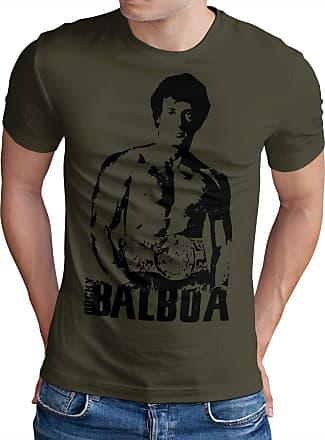 OM3 Rocky Balboa - T-Shirt Boxer 70s 80s The Italien Stallion USA, 4XL, Olive