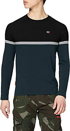 Superdry Engineered colour block long sleeve t shirt in burgundy