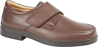 Roamers Mens XXX Extra Wide Touch Fasten Shoes Soft Brown Leather Lightweight (Numeric_10)