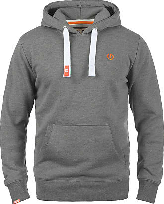 Solid BennHood Mens Hoodie Hooded Sweatshirt Jumper with Hood with Fleece Lining, Size:L, Colour:Grey Melange (8236)
