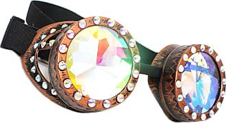 morefaz Welding Cyber Goggles Spikes Steampunk Kaleidoscope Goth Cosplay Sunglasses Diamonds Fancy Dress (Copper Kaleidoscope)