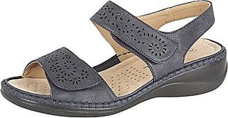 Boulevard Ladies L589 Navy Touch Fastening Halter Back Faux Nubuck Sandals size 3 UK
