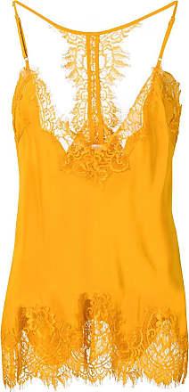 Gold Hawk Blusa com recorte de renda - Amarelo