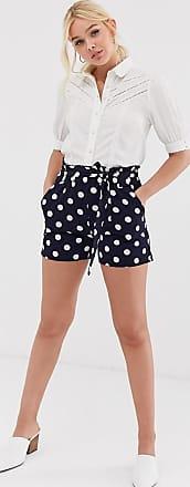 Qed London Gepunktete Shorts mit Taillenschnürung in Marineblau-Mehrfarbig