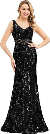 Ever-pretty Womens Sleeveless V Neck Elegant Floor Length Mermaid Long Sequins Evening Party Dresses Black 18UK