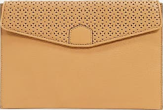 French Connection envelope clutch bag with cutwork detail in tan