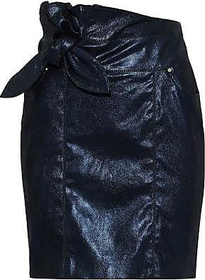 5ed517ded Iro Iro Woman Knotted Leather Mini Skirt Midnight Blue Size 36