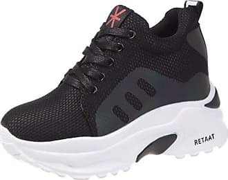 RAZAMAZA Women Casual Lace Up Trainers Wedge Heel Sneaker Pumps Flatform Round Toe Gym Shoes Walking Black Size 37 Asian