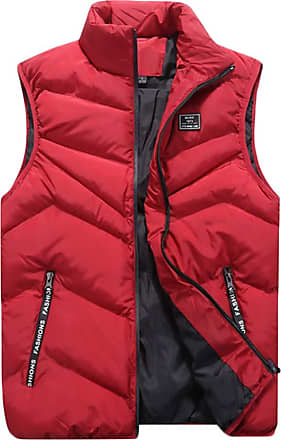 ZongSen Mens Fall and Winter Lightweight Down Puffer Gilet Quilted Jacket Body Warmer Sleeveless Coat Red 4XL